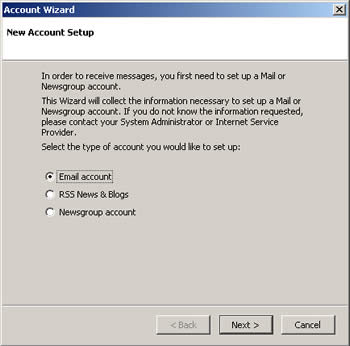 Step 2 - Email account